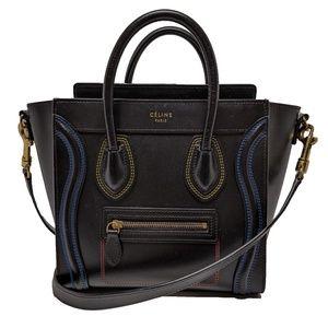 Celine Black Double Stitch Nano Luggage Crossbody